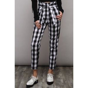 🆕 Black White Check High Waist Tie Pants